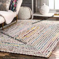 "2x3"" Feet Indian Braided Chindi Floor Rug Jute Handmade Natural Rectangle Rug"