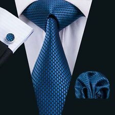 Mens Tie Silk Necktie Classic Blue Novelty Hanky Cufflinks Sets Business SN-1537