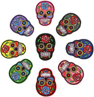 Skull Embroidered Iron On Sew On Patches Transfers Badges Rose Flower Patch