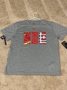XL Gray St Louis Cardinals Baseball Nike Short Sleeve Dri-Fit Triptych Tee NWT
