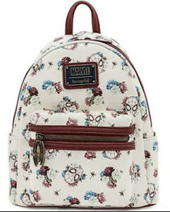 LOUNGEFLY X Marvel Spiderman Floral Mini Backpack SALE Brand New White