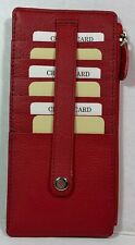 New Leather Slim wallet Zippered pocket with snap secured Card holder red
