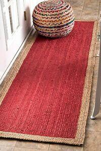Rug Runner 100% Natural Jute Braided style Rug Rustic look  Carpet Handmade Rugs