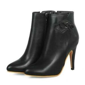 Plus Size 34-52 Womens Pointy Toe High Heel Stiletto Party Ankle Boots Outdoor D