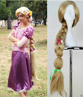 "Tangled Rapunzel 48"" Long Blonde Hand Made Styled Braid Cosplay Women Wig &01"