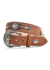 Leather Belt with Conchos and Stitching Unisex - All Sizes