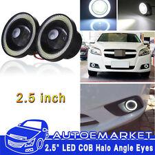 2x Car Angel Eye COB White Halo Ring LED DRL Projector Len Fog Driving Light SUV