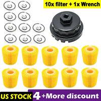 For Toyota Lexus Scion Oil Filter 04152-YZZA1 04152-31090 Set 10 w/1pcs Wrench