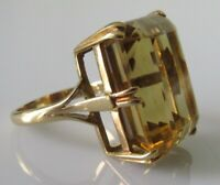 9ct Gold Ring - Vintage 9ct Yellow Gold Oblong Citrine Cocktail Ring Size J 1/2