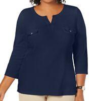 Karen Scott Women's Top Midnight Blue Size 2X Plus Knit Split Neck $36 #144