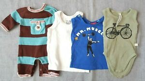 Lot 1 Bodysuits 2 T-Shirts 1 Romper Cotton Baby Boy Size 3/6 Month