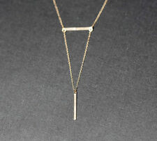 Womens Simple Geometric Metal Strip Bar Bone Gold Chain Necklace Pendant jewelry
