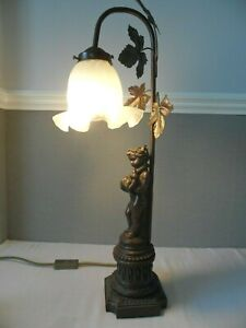 Bronze Effect Table Lamp Art Nouveau Style, Cherub frosted glass shade