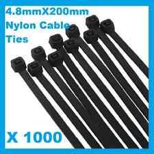 1000 x Black Nylon Cable Ties 4.8mmX 200mm Free Postage