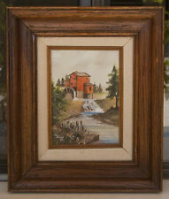 """VINTAGE OIL ON CANVAS MILL HOUSE SCENE PAINTING SIGNED """"S FABER"""""""