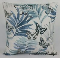 JANE CHURCHILL EVELYN Fabric Cushion Cover Blue Butterflies Leaves