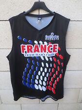 Débardeur Maillot running CLUB MARATHON FRANCE Poli noir shirt jersey course XL