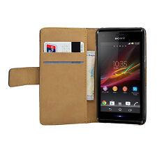 Schwarz Wallet Leder Case für Sony Xperia M Dual/C2004/C2005 Experia M