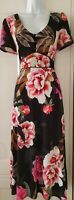 Womens Monsoon Black Floral Botanical Tie Belt Short Sleeve Midi Tea Dress 10.