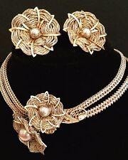 Miriam Haskell Signed Set Necklace Earrings Demi Parure Art Nouveau Floral Theme