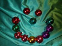 ~ 12 alte kleine bunte Christbaumkugeln Glas mundgeblasen  Weihnachtskugeln ~