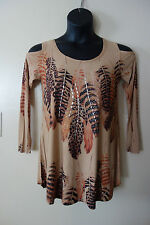 COVER CHARGE feathers JEWELED cold shoulder Top SIZE S NWOT