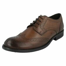 Mens Base London Formal Lace Up Leather Heeled Brogue Shoes Oak