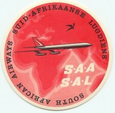 SOUTH AFRICAN AIRWAYS VINTAGE AIRLINE AVIATION LUGGAGE LABEL