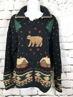 Northern Isles Hand Knit Pullover Sweater Black With Cabins Bears Size Large