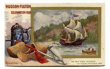 Worlds Fair Postcard 1909 HUDSON FULTON artist signed HALF MOON wooded shoes