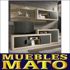 MUEBLE DE SALON LARA CAMBRIAN Y GRAFITO - LIBRERIA TV SALA COMEDOR OFICINA