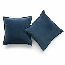 """Hofdeco Set of 2 Patrol Blue Solid Throw Pillow Case Sofa Cushion Cover 18"""""""