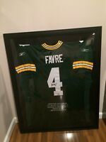 Brett Favre UDA 2/10 Framed Autographed Jersey with Super Bowl stats