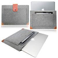 Slim Laptop notebook Felt Sleeve LEATHER STRAP Case Cover Bag for Apple MacBook