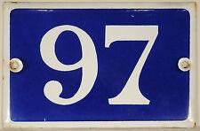 Old blue French house number 97 door gate plate enamel steel metal plaque 1970s