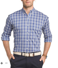 Izod Gingham Stretch Button Front Shirt    NWT  BIG AND TALL   Size:  2XLT