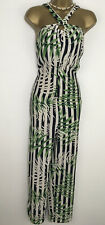 ZARA jumpsuit Palm Print Black White Green Stripe Size XS 8 Summer Halter