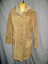 GAP SHEARLING LEATHER COAT WITH HOOD WOMENS SIZE M