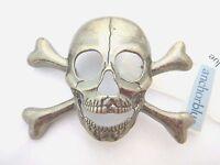 PEWTER SKULL & CROSSBONES BELT BUCKLE jolly roger pirate death metal punk new H1