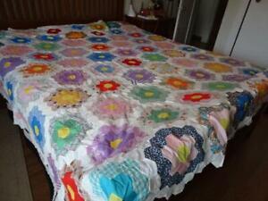 "Vintage Grandmother""s Flower Garden Hexagon QUILT TOP-approx 92""x92""hand pieced"