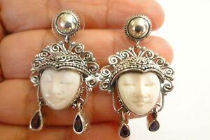 Blue Topaz Balinese Goddess Close Eyes 925 Sterling Silver Dangle Drop Earrings