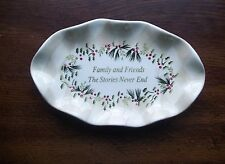 Vintage Family & Friends The Stories Never End Fluted Oval Holly Dish Christmas