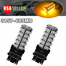 2x 3157 3156 Amber/Yellow 68-SMD Sider Marker Paking Turn Signal LED Light Bulbs