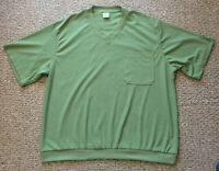 HABAND Men's Casual Travel NO WRINKLE Free T Shirt Green XX 2X V Neck Pocket