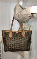 Fossil Brown Circle Diamond PVC & Leather Large Tote Bag Rachel Shopper