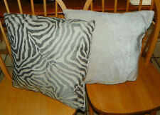 Pair of Gray Cream Animal Print Pillows  18 x 18