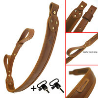 Buffalo Hide Leather Rifle Gun Sling with Mil-Spec Swivels,Durable Gun Strap USA