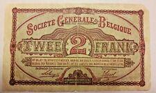 2 FRANCS SOCIETE GENERALE! 1916 Belgique Belgïe 2 Frank 1916