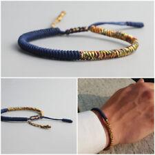 Bracciale uomo blu oro braccialetto Buddista Tibetano da corda Buddha nodo knots