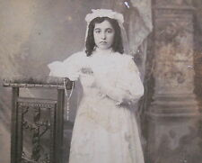 LATE 1800's GIRL WELL DRESSED 1st COMMUNION CABINET PHOTO